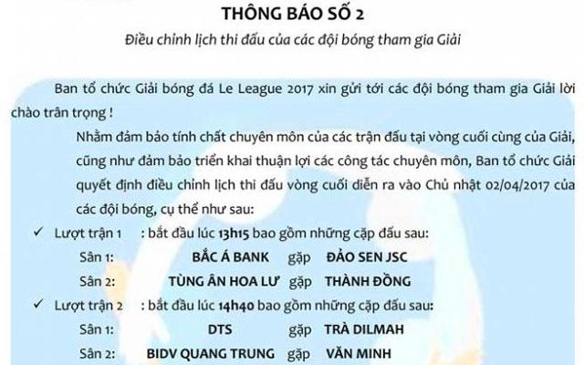Điều chỉnh lịch thi đấu vòng 7 Le League 2017