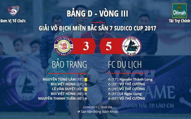 Highlight Bảo Trang 3-5 Du Lịch (vòng 3 Sudico Cup 2017)