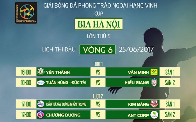 Lịch thi đấu vòng 6 Vinh League S5