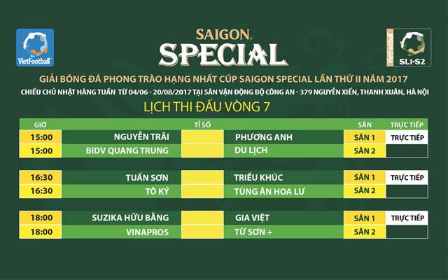Link trực tiếp vòng 7 giải hạng Nhất - Cúp Saigon Special 2017