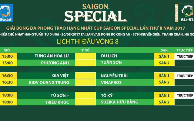 Link trực tiếp vòng 8 giải hạng Nhất - Cúp Saigon Special 2017